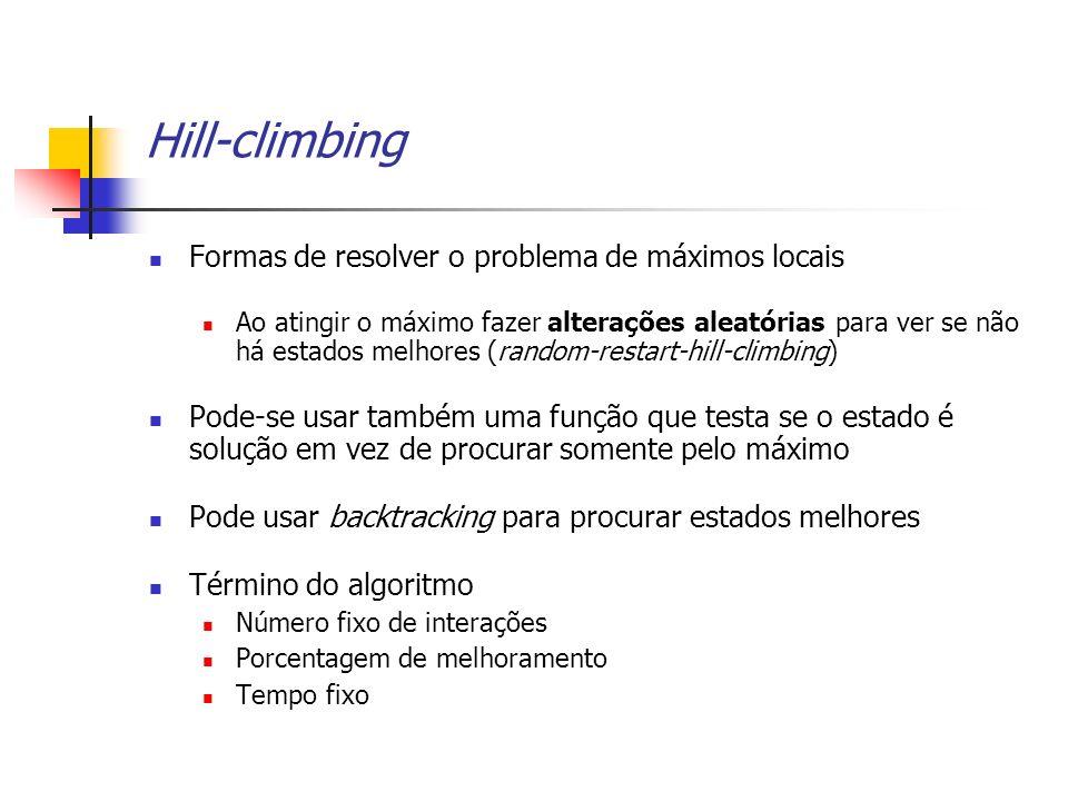 Hill-climbing Formas de resolver o problema de máximos locais Ao atingir o máximo fazer alterações aleatórias para ver se não há estados melhores (ran