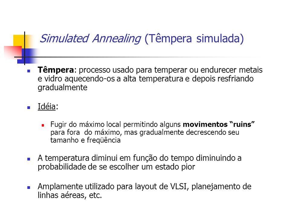 Simulated Annealing (Têmpera simulada) Têmpera: processo usado para temperar ou endurecer metais e vidro aquecendo-os a alta temperatura e depois resf