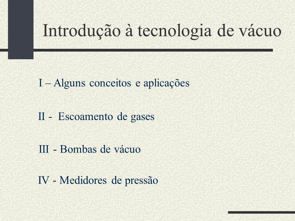 Introdução à tecnologia de vácuo I – Alguns conceitos e aplicações II - Escoamento de gases III - Bombas de vácuo IV - Medidores de pressão