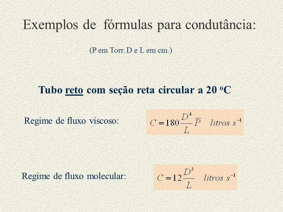 Exemplos de fórmulas para condutância: (P em Torr. D e L em cm.) Regime de fluxo viscoso: Regime de fluxo molecular: Tubo reto com seção reta circular