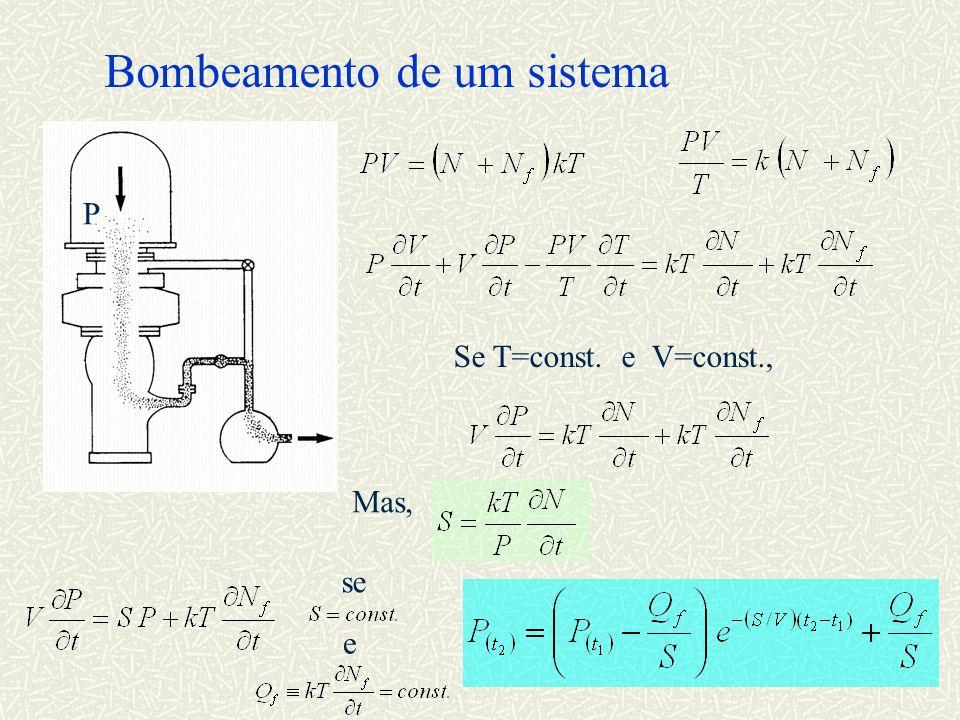 Bombeamento de um sistema P Se T=const. e V=const., Mas, se e