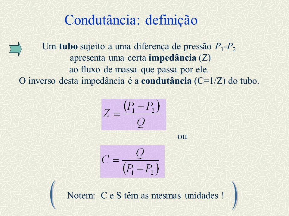 Condutância: definição Um tubo sujeito a uma diferença de pressão P 1 -P 2 apresenta uma certa impedância (Z) ao fluxo de massa que passa por ele. O i