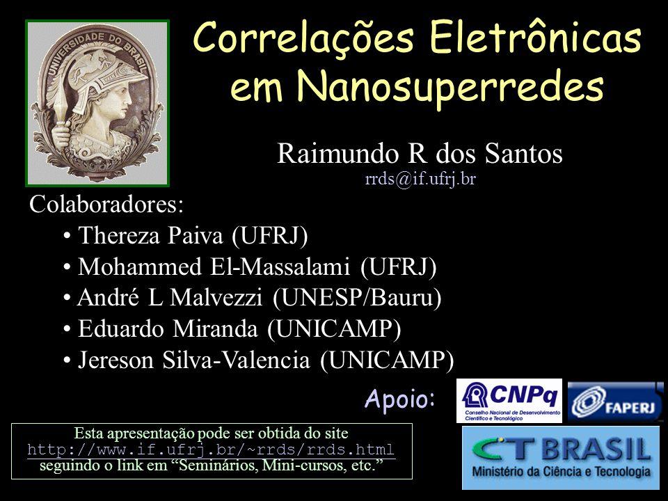 Correlações Eletrônicas em Nanosuperredes Apoio: Esta apresentação pode ser obtida do site http://www.if.ufrj.br/~rrds/rrds.html http://www.if.ufrj.br