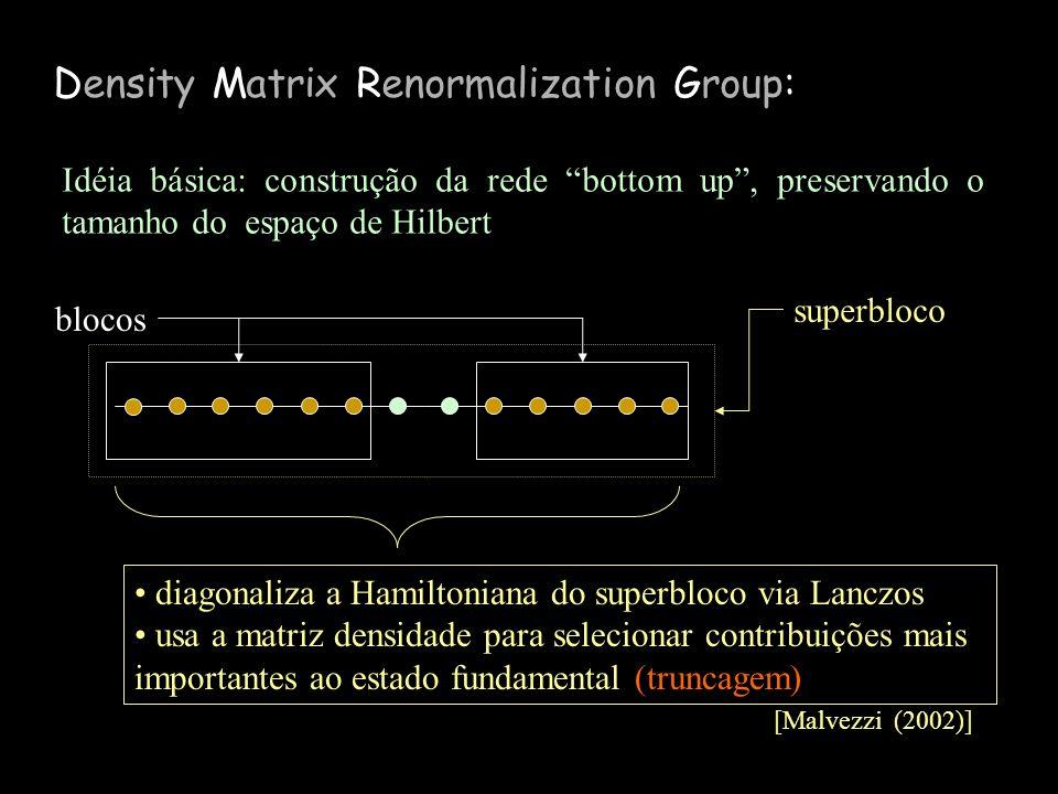 Density Matrix Renormalization Group: [Malvezzi (2002)] blocos superbloco Idéia básica: construção da rede bottom up, preservando o tamanho do espaço