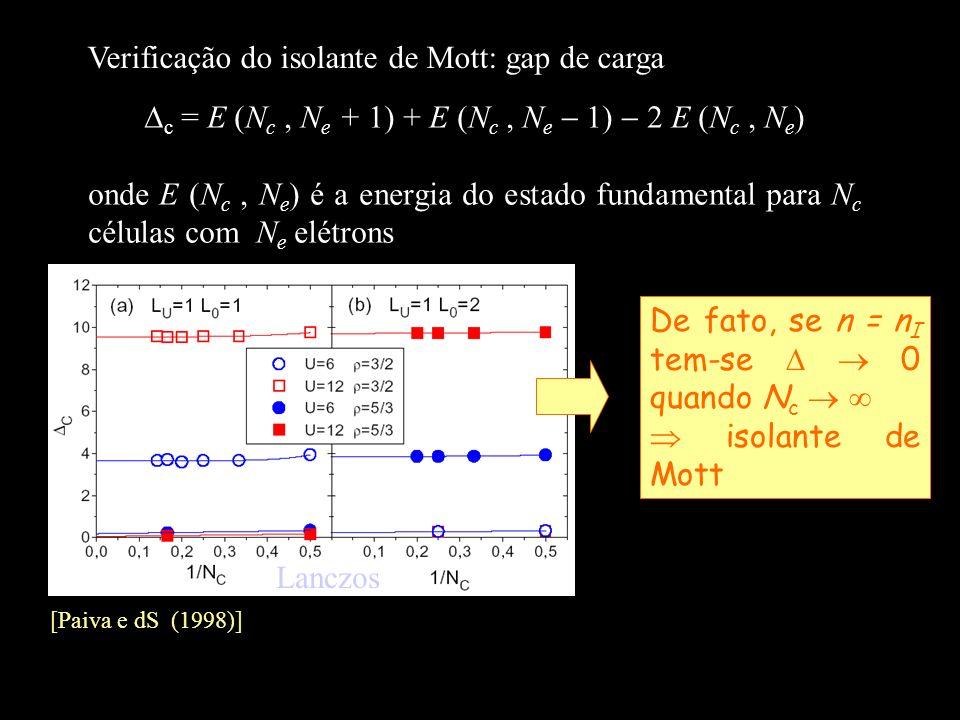 Verificação do isolante de Mott: gap de carga [Paiva e dS (1998)] c = E (N c, N e + 1) + E (N c, N e 1) 2 E (N c, N e ) onde E (N c, N e ) é a energia