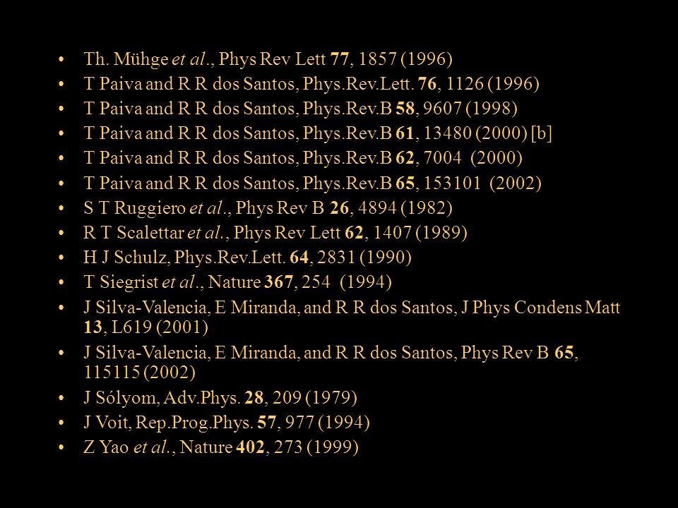 Th. Mühge et al., Phys Rev Lett 77, 1857 (1996) T Paiva and R R dos Santos, Phys.Rev.Lett. 76, 1126 (1996) T Paiva and R R dos Santos, Phys.Rev.B 58,