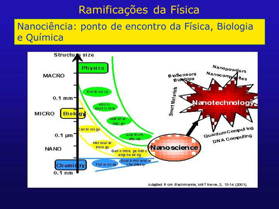 Nanociência: ponto de encontro da Física, Biologia e Química Ramificações da Física