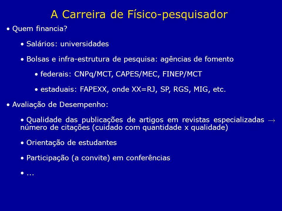 Quem financia? Salários: universidades Bolsas e infra-estrutura de pesquisa: agências de fomento federais: CNPq/MCT, CAPES/MEC, FINEP/MCT estaduais: F