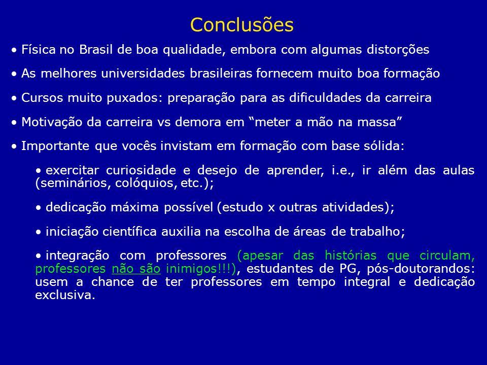 Física no Brasil de boa qualidade, embora com algumas distorções As melhores universidades brasileiras fornecem muito boa formação Cursos muito puxado