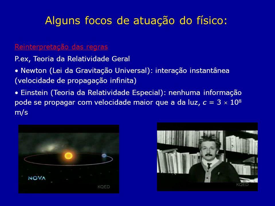 Reinterpretação das regras P.ex, Teoria da Relatividade Geral Newton (Lei da Gravitação Universal): interação instantânea (velocidade de propagação in
