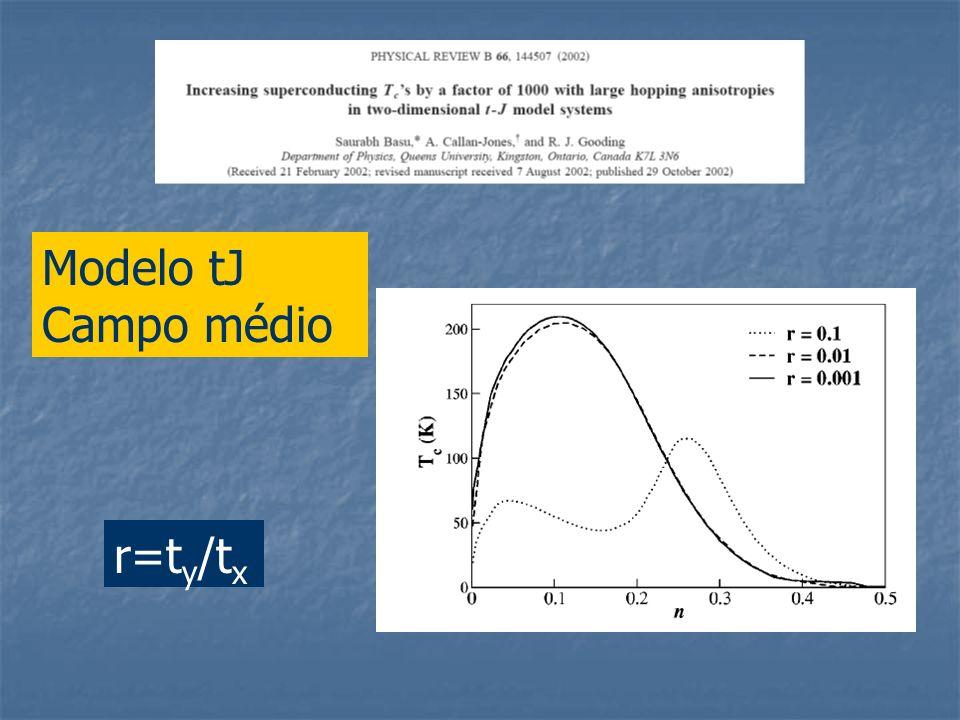 r=t y /t x Modelo tJ Campo médio