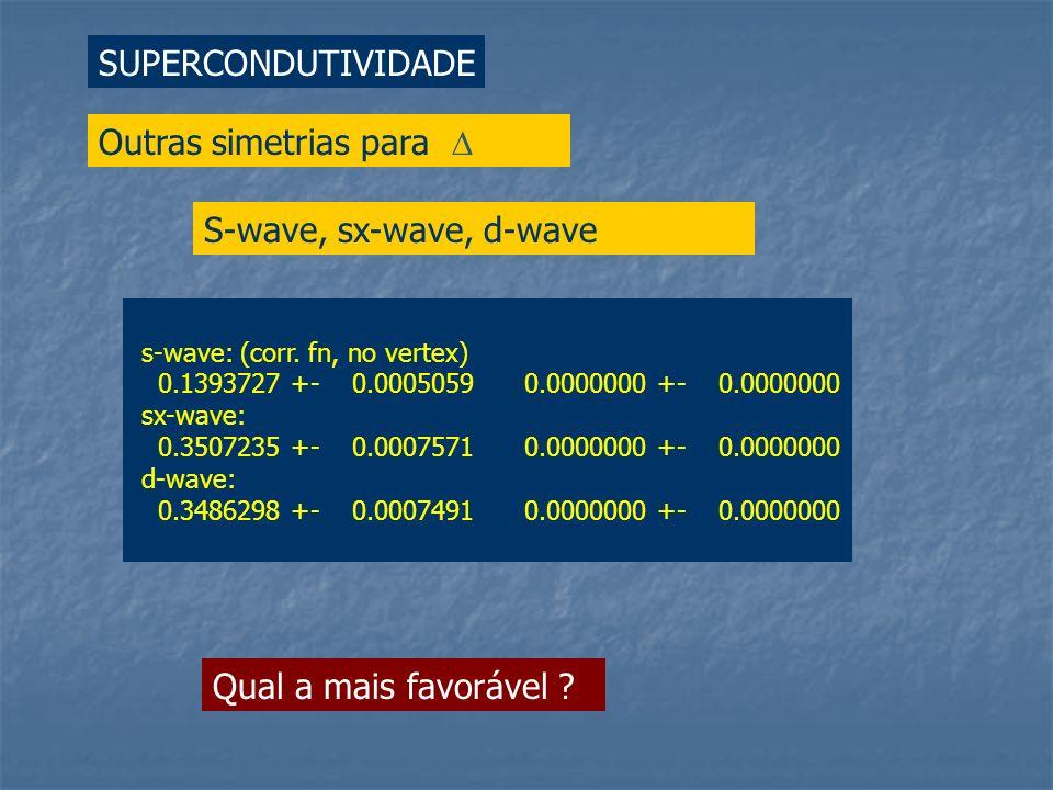 SUPERCONDUTIVIDADE Outras simetrias para S-wave, sx-wave, d-wave s-wave: (corr. fn, no vertex) 0.1393727 +- 0.0005059 0.0000000 +- 0.0000000 sx-wave: