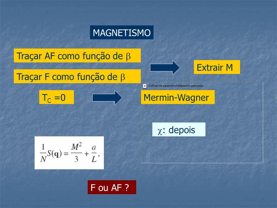 MAGNETISMO Traçar AF como função de Extrair M Mermin-WagnerT C =0 : depois Traçar F como função de F ou AF ?