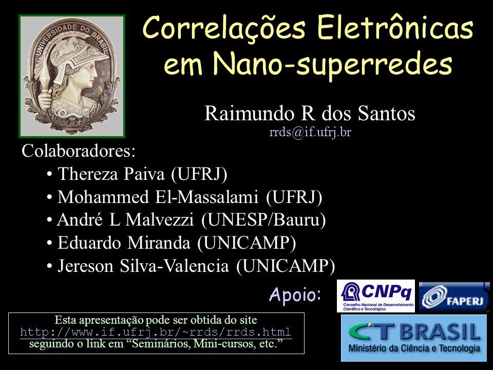 Esquema do seminário Introdução Nano-superredes de Hubbard Metodologia Nano-superredes com interações repulsivas: Magnetismo, MIT, e distribuição de carga Nano-superredes com interações atrativas: Supercondutividade Conclusões
