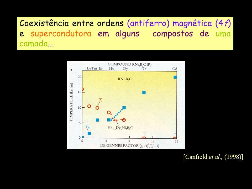 Coexistência entre ordens (antiferro) magnética (4f) e supercondutora em alguns compostos de uma camada... [Canfield et al., (1998)]