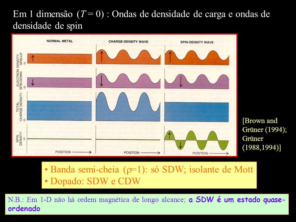 N.B.: Em 1-D não há ordem magnética de longo alcance; a SDW é um estado quase- ordenado Em 1 dimensão (T = 0) : Ondas de densidade de carga e ondas de