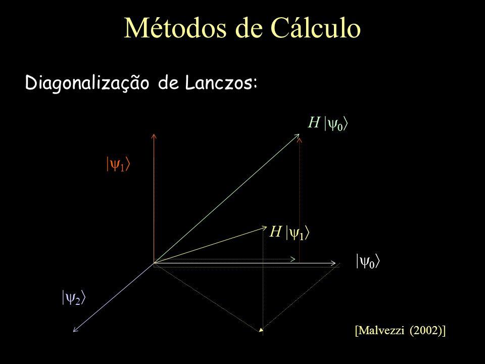 Métodos de Cálculo Diagonalização de Lanczos: H 1 H 1 2 [Malvezzi (2002)]