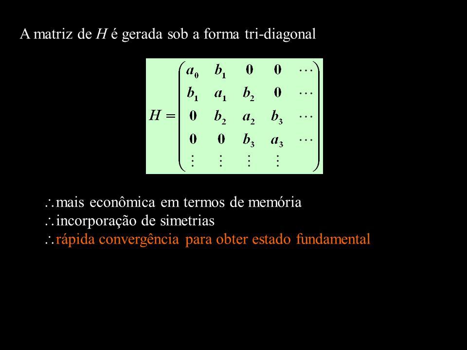 A matriz de H é gerada sob a forma tri-diagonal mais econômica em termos de memória incorporação de simetrias rápida convergência para obter estado fu