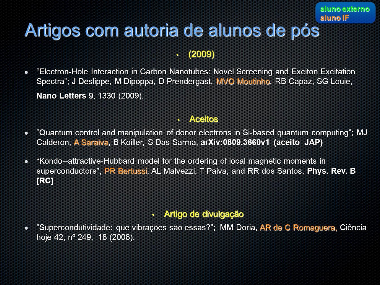 Artigos com autoria de alunos de pós (2009) (2009) Electron-Hole Interaction in Carbon Nanotubes: Novel Screening and Exciton Excitation Spectra; J De