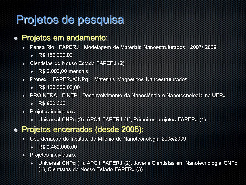 Projetos de pesquisa Projetos em andamento: Pensa Rio - FAPERJ - Modelagem de Materiais Nanoestruturados - 2007/ 2009 R$ 185.000,00 Cientistas do Noss