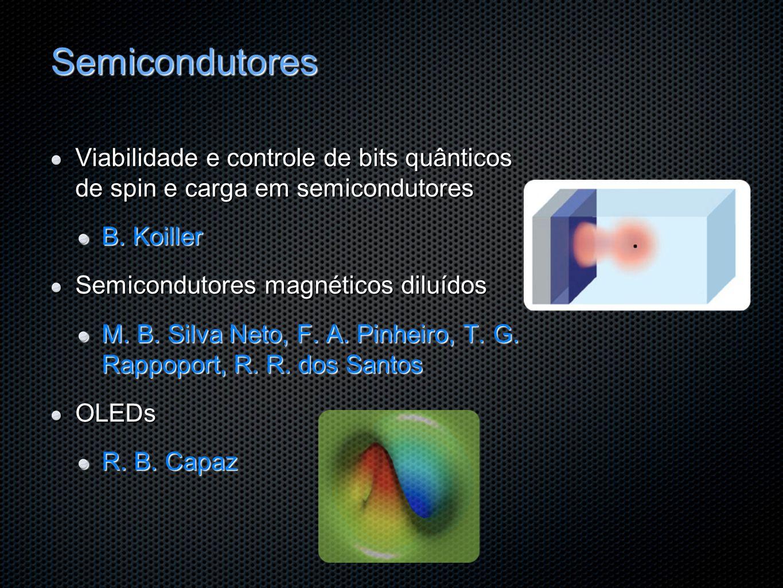 Semicondutores Viabilidade e controle de bits quânticos de spin e carga em semicondutores B. Koiller Semicondutores magnéticos diluídos M. B. Silva Ne