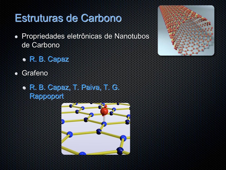 Estruturas de Carbono Propriedades eletrônicas de Nanotubos de Carbono R. B. Capaz Grafeno R. B. Capaz, T. Paiva, T. G. Rappoport