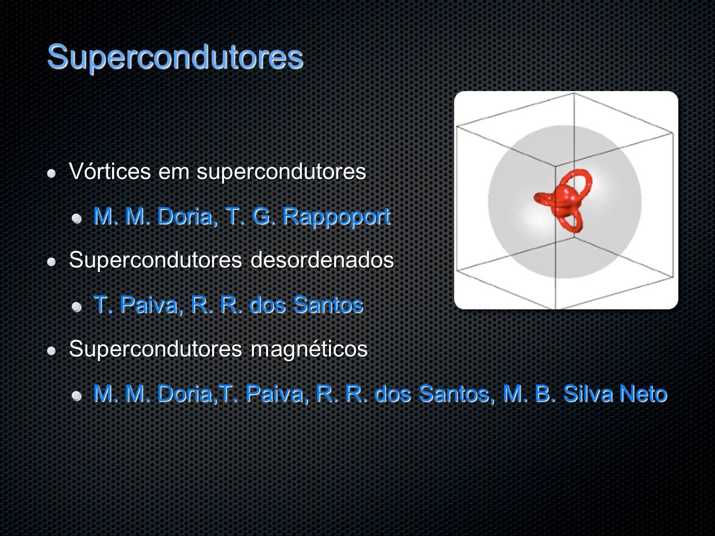 Supercondutores Vórtices em supercondutores M. M. Doria, T. G. Rappoport Supercondutores desordenados T. Paiva, R. R. dos Santos Supercondutores magné