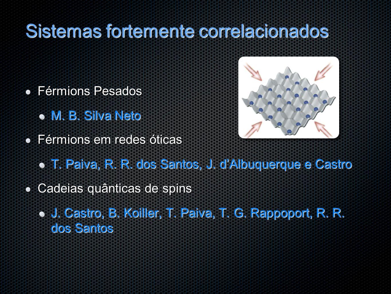 Sistemas fortemente correlacionados Férmions Pesados M. B. Silva Neto Férmions em redes óticas T. Paiva, R. R. dos Santos, J. dAlbuquerque e Castro Ca