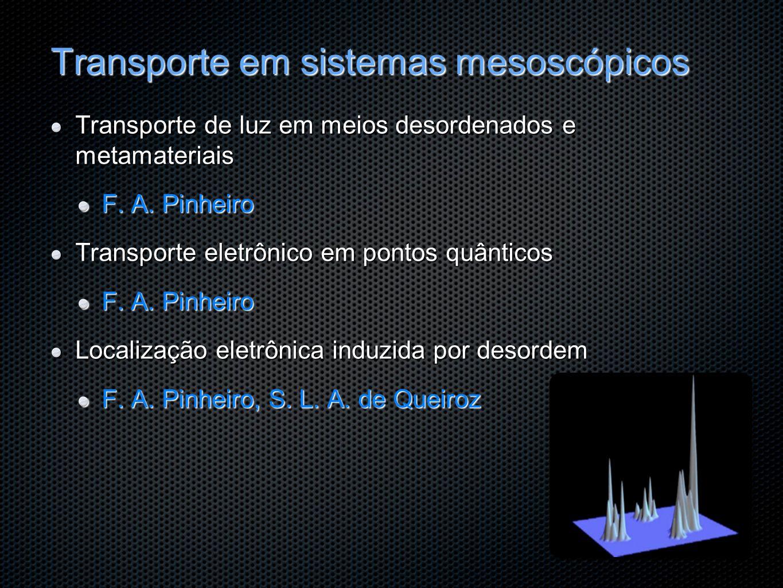 Transporte em sistemas mesoscópicos Transporte de luz em meios desordenados e metamateriais F. A. Pinheiro Transporte eletrônico em pontos quânticos F