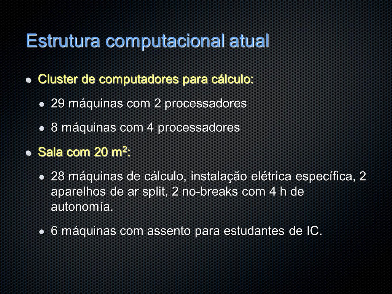 Estrutura computacional atual Cluster de computadores para cálculo: 29 máquinas com 2 processadores 8 máquinas com 4 processadores Sala com 20 m 2 : 2