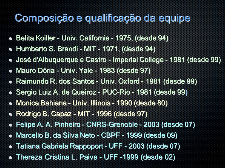 Composição e qualificação da equipe Belita Koiller - Univ. California - 1975, (desde 94) Humberto S. Brandi - MIT - 1971, (desde 94) José d'Albuquerqu
