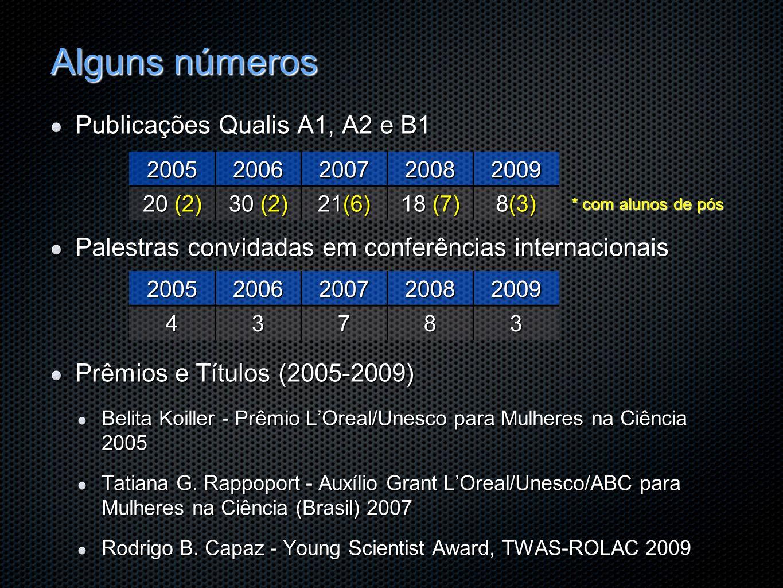 Alguns números Publicações Qualis A1, A2 e B1 Palestras convidadas em conferências internacionais Prêmios e Títulos (2005-2009) Belita Koiller - Prêmi