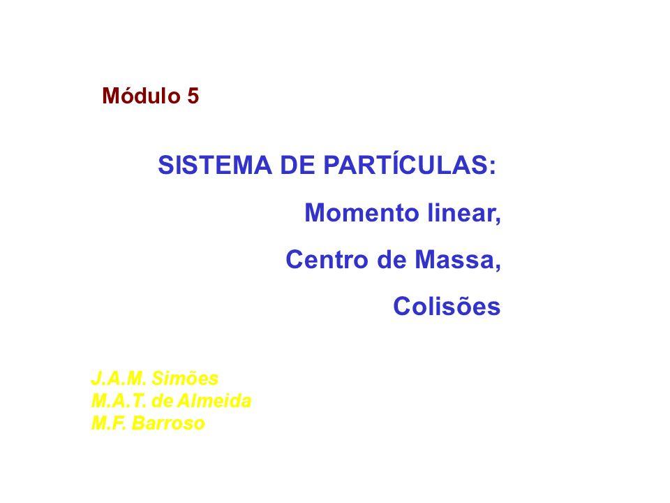 Módulo 5 SISTEMA DE PARTÍCULAS: Momento linear, Centro de Massa, Colisões J.A.M. Simões M.A.T. de Almeida M.F. Barroso