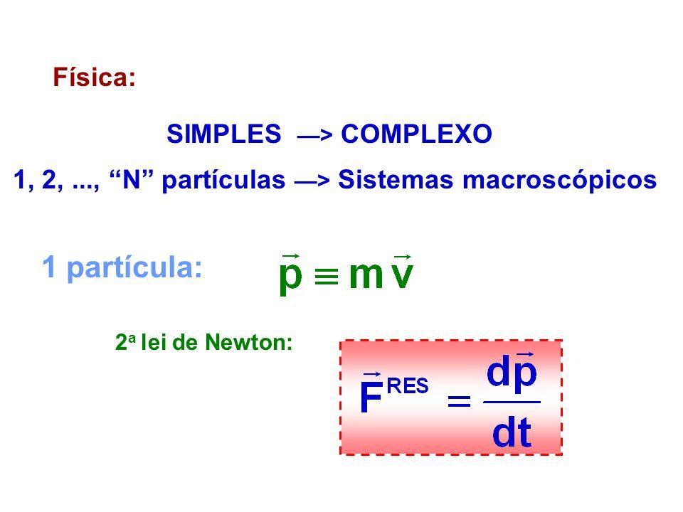Física: SIMPLES > COMPLEXO 1, 2,..., N partículas > Sistemas macroscópicos 1 partícula: 2 a lei de Newton: