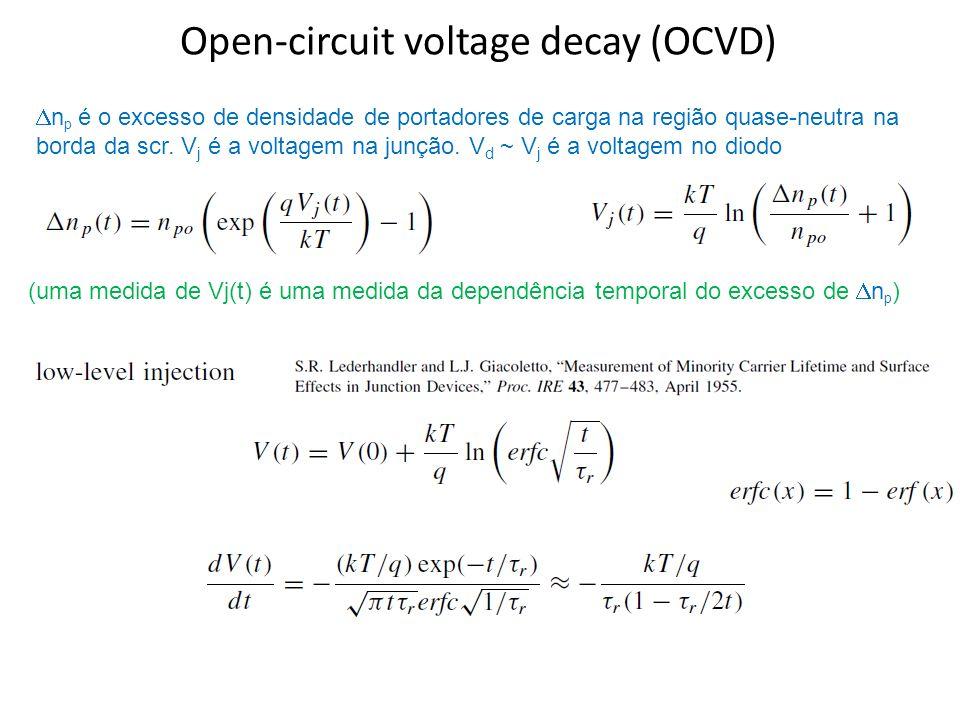 Open-circuit voltage decay (OCVD) n p é o excesso de densidade de portadores de carga na região quase-neutra na borda da scr.