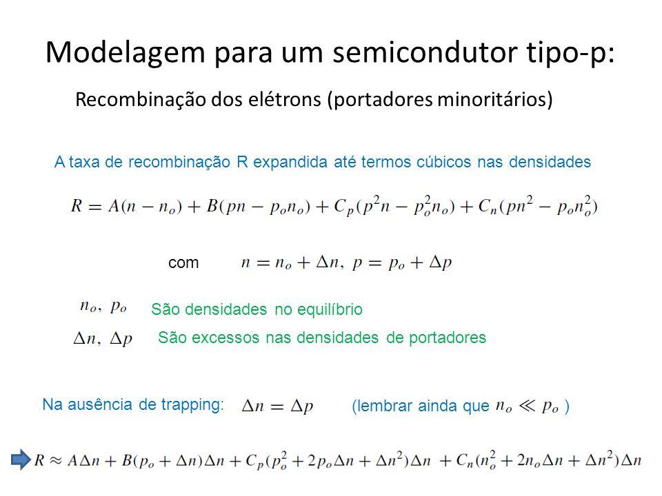 Modelagem para um semicondutor tipo-p: Recombinação dos elétrons (portadores minoritários) A taxa de recombinação R expandida até termos cúbicos nas densidades São densidades no equilíbrio São excessos nas densidades de portadores com Na ausência de trapping: (lembrar ainda que )