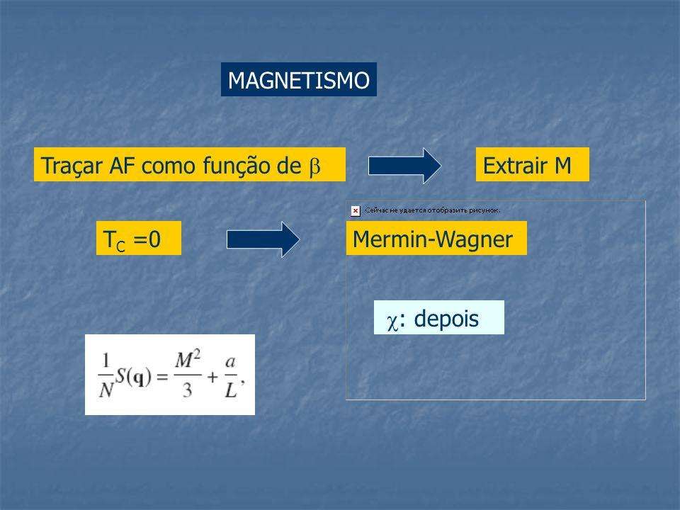 MAGNETISMO Traçar AF como função de Extrair M Mermin-WagnerT C =0 : depois