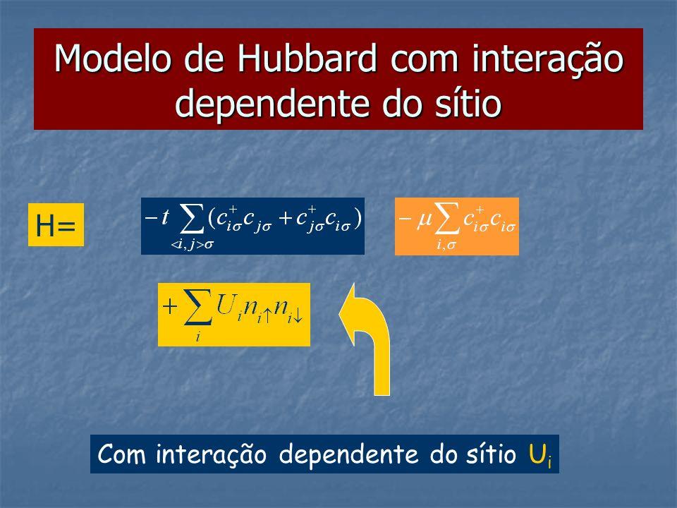 Modelo de Hubbard com interação dependente do sítio H= Com interação dependente do sítio U i