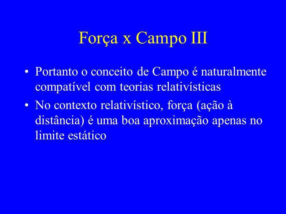 Força x Campo II Porém, o conceito de Força (ação à distân- cia) entre duas partículas supõe uma veloci- dade inifinita de propagação da informação, p