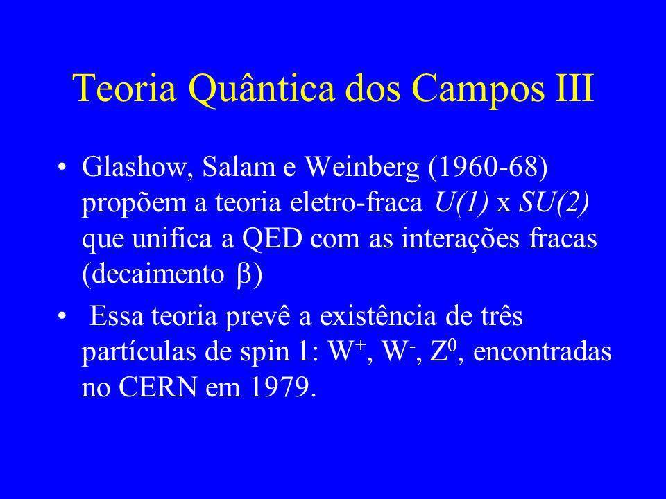 Teoria Quântica dos Campos II Yang e Mills (1954) generalizaram a QED para uma teoria com vários parâmetros arbitrários (calibre) Simetria de calibre