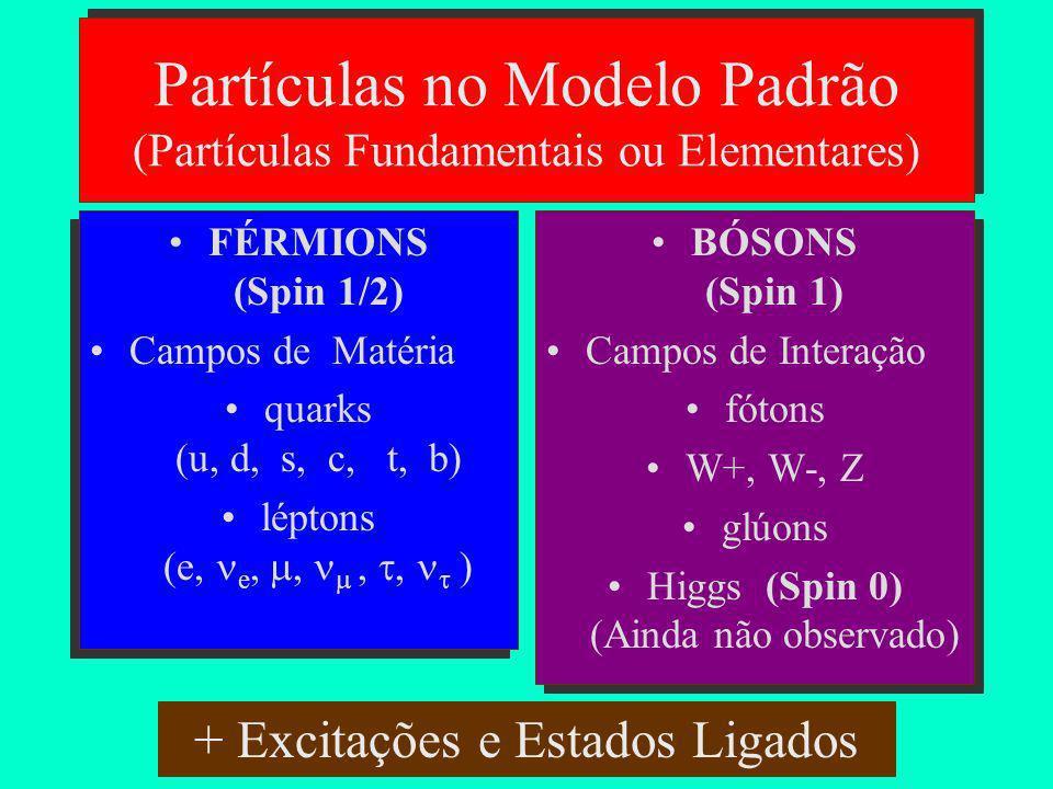 O Modelo Padrão das Partículas Teoria eletrofraca U(1) x SU(2) Cromodinâmica Quântica SU(3) Modelo Padrão U(1) x SU(2) x SU(3)