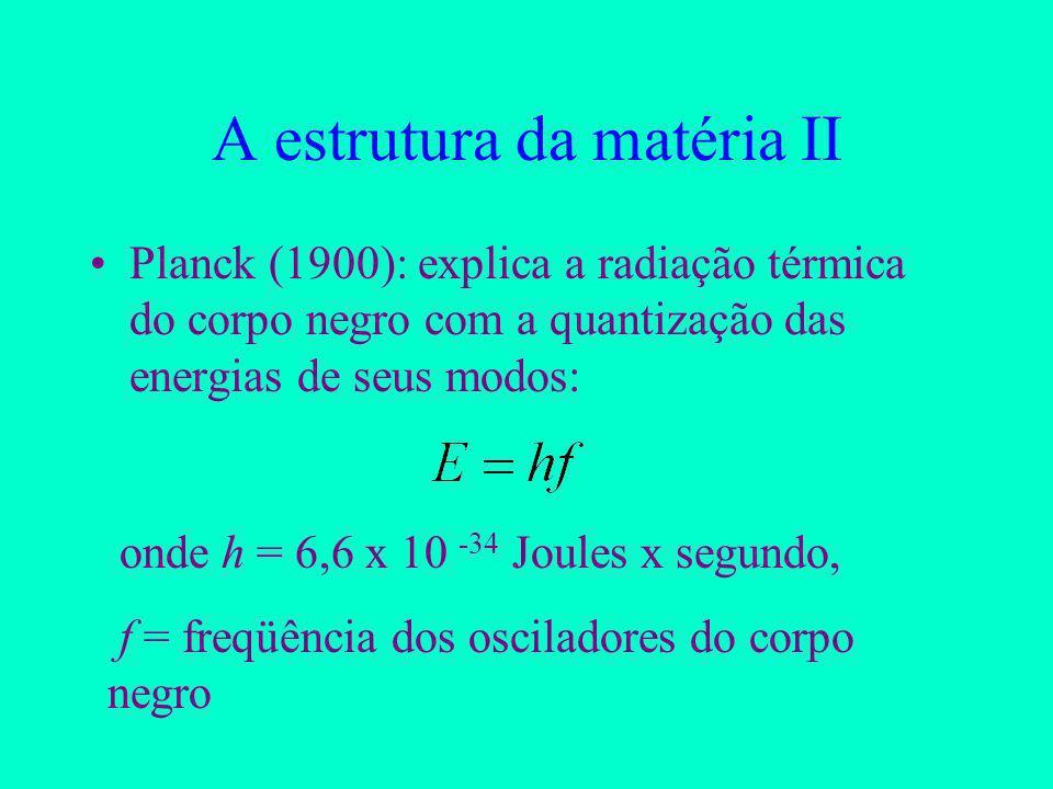 A estrutura da matéria II Planck (1900): explica a radiação térmica do corpo negro com a quantização das energias de seus modos: onde h = 6,6 x 10 -34 Joules x segundo, f = freqüência dos osciladores do corpo negro