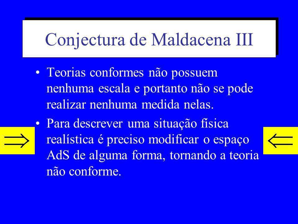 Conjectura de Maldacena II Nessa proposta o espaço das cordas de 10 dimensões corresponde a um espaço curvo de 5 dimensões (anti de Sitter) x hiperesf