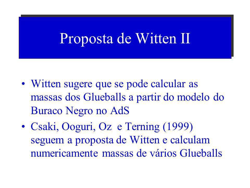 Proposta de Witten (1998) Considerar um buraco negro dentro do espaço de anti de Sitter Como o buraco negro tem um tamanho (seu raio) a teoria passa a