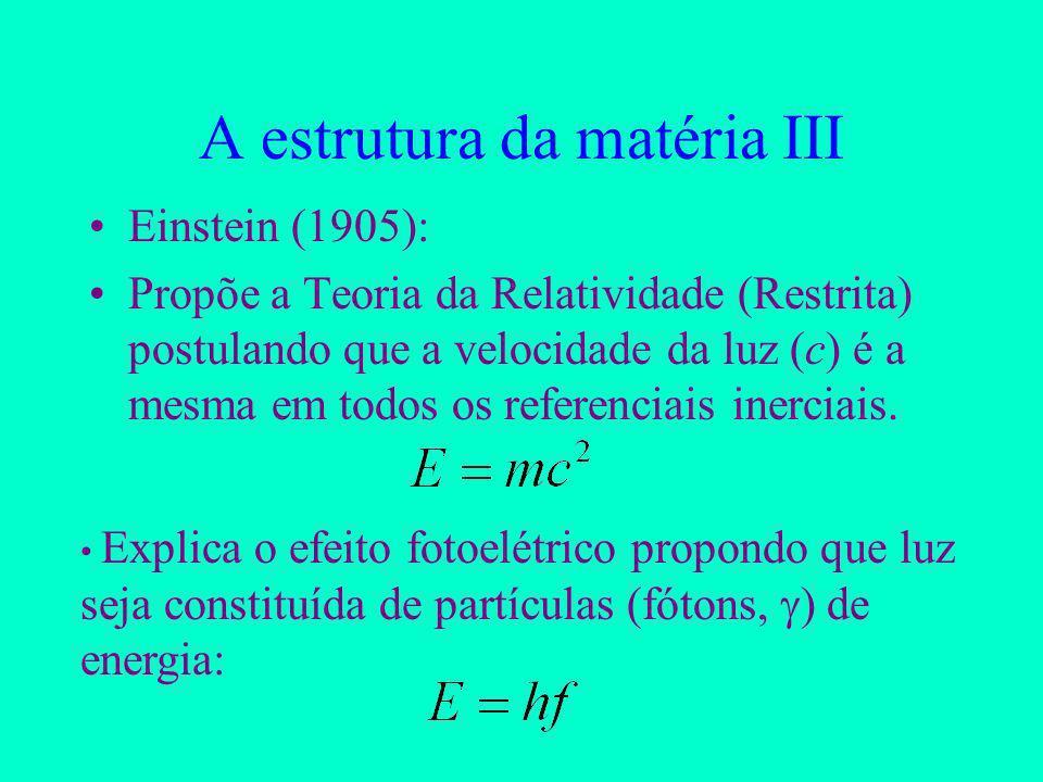 A estrutura da matéria III Einstein (1905): Propõe a Teoria da Relatividade (Restrita) postulando que a velocidade da luz (c) é a mesma em todos os referenciais inerciais.