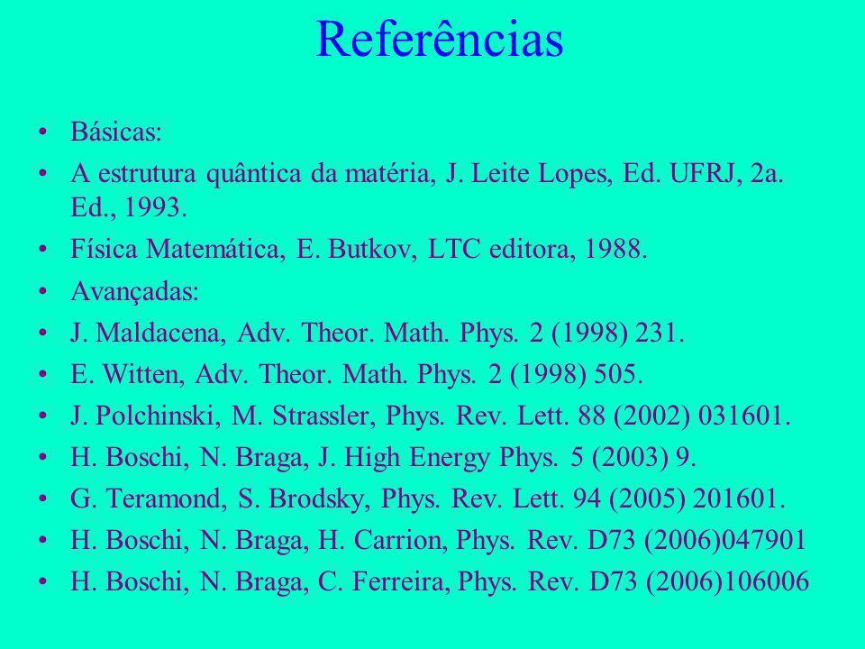 Resultados Recentes II Potencial confinante a partir da teoria de cordas (Boschi-Filho, Braga, Ferreira 2006)