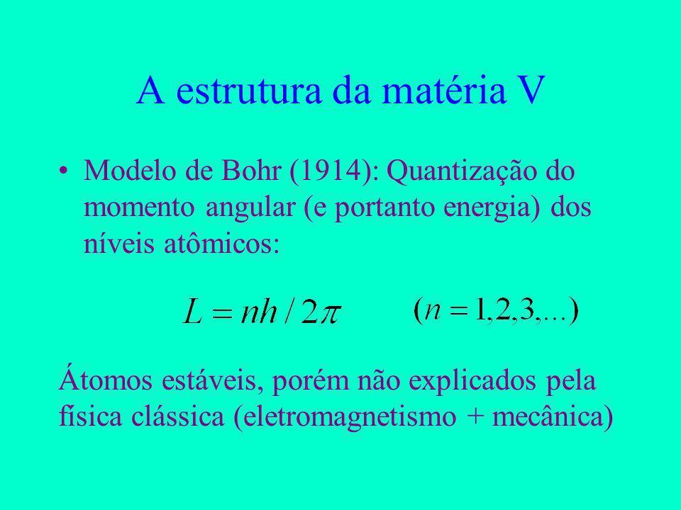 A estrutura da matéria V Modelo de Bohr (1914): Quantização do momento angular (e portanto energia) dos níveis atômicos: Átomos estáveis, porém não explicados pela física clássica (eletromagnetismo + mecânica)