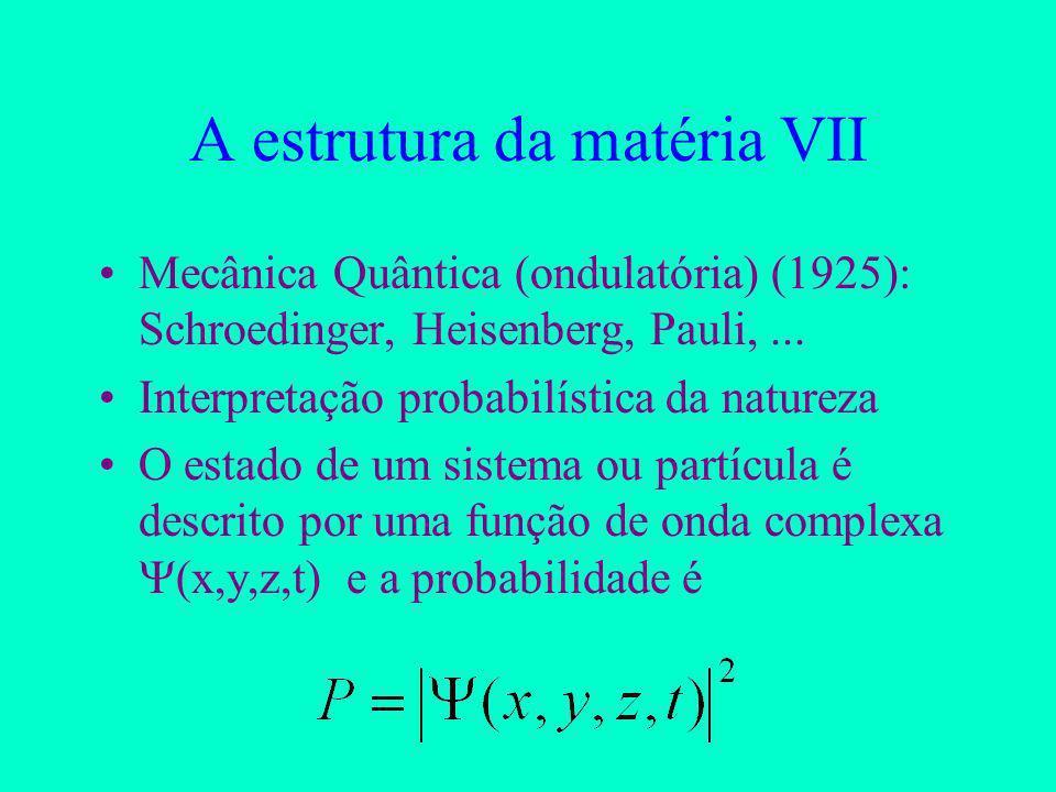 A estrutura da matéria VII Mecânica Quântica (ondulatória) (1925): Schroedinger, Heisenberg, Pauli,...