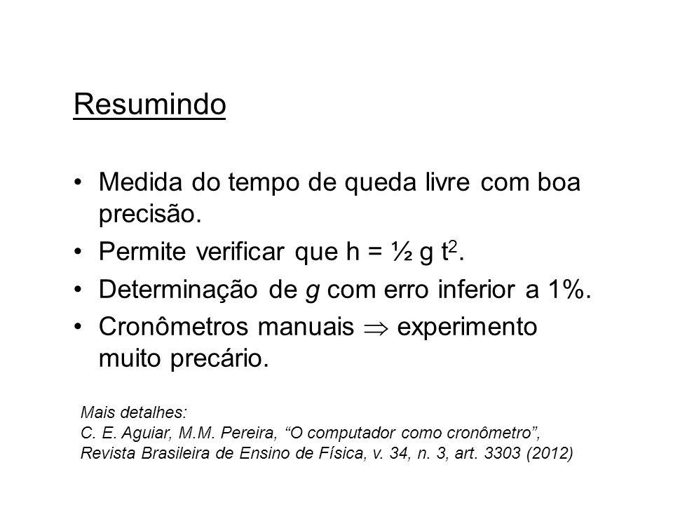 Resumindo Medida do tempo de queda livre com boa precisão. Permite verificar que h = ½ g t 2. Determinação de g com erro inferior a 1%. Cronômetros ma