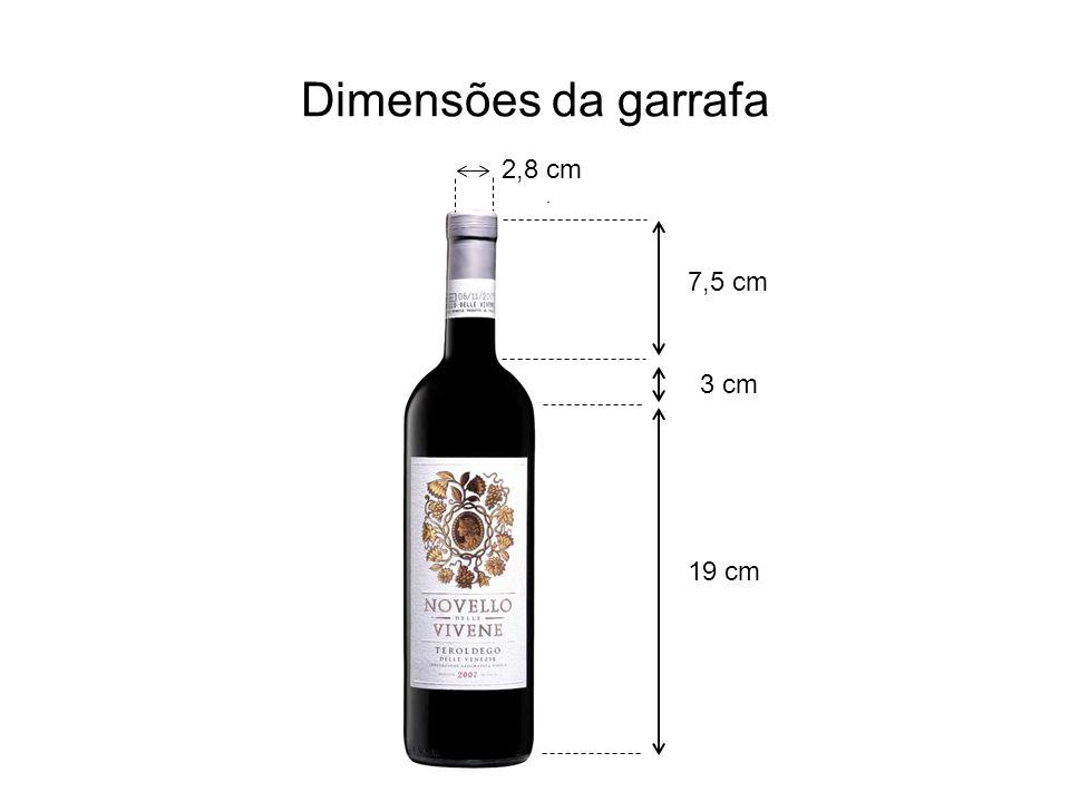 Dimensões da garrafa 19 cm 3 cm 7,5 cm 2,8 cm